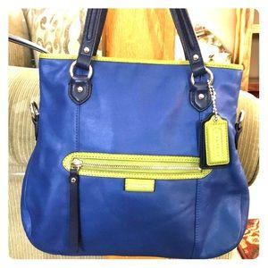 💕 Coach blue green leather medium satchel bag 💕